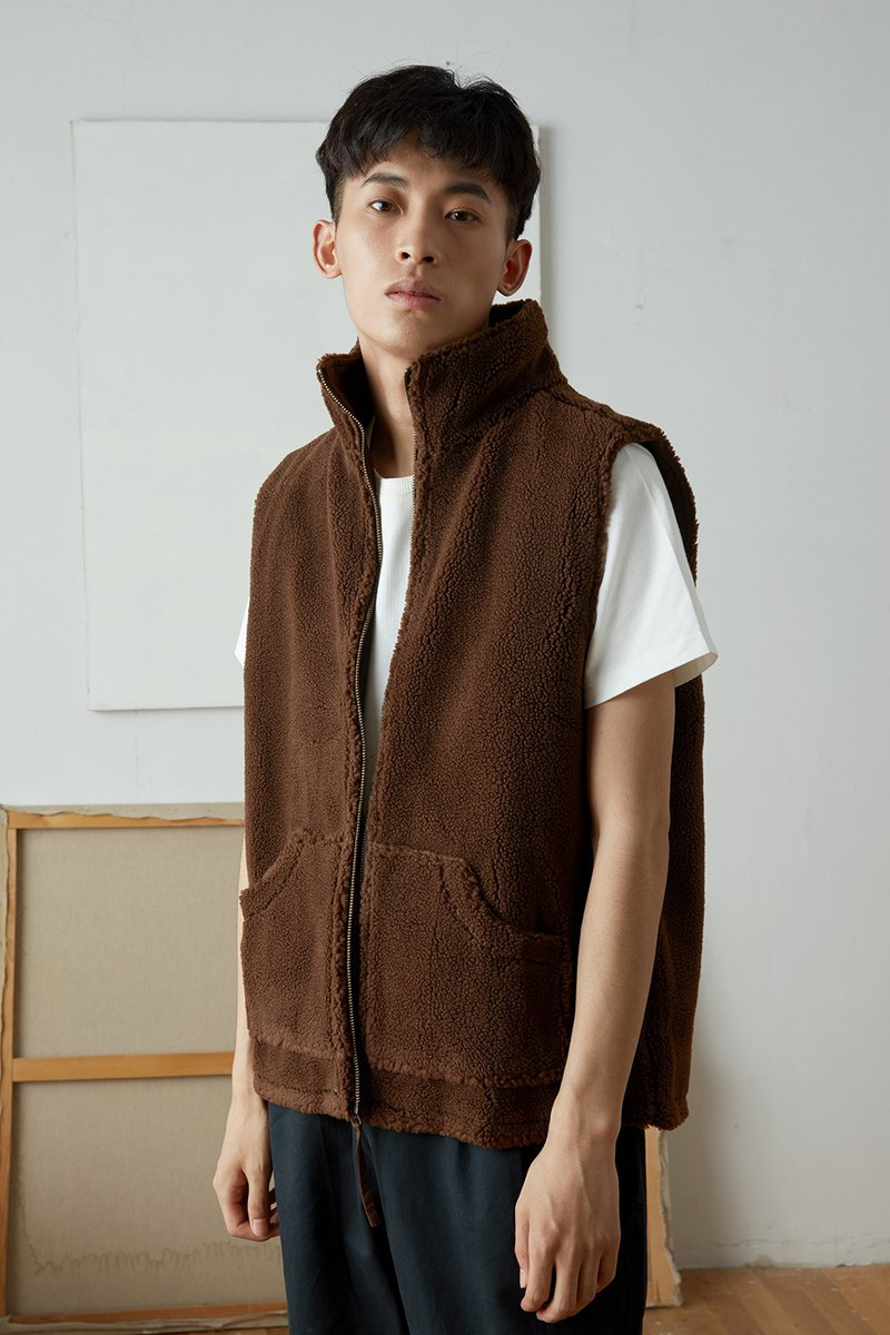 Japanese retro two-faced wearing lambskin vest, versatile men's and women's cotton jacket