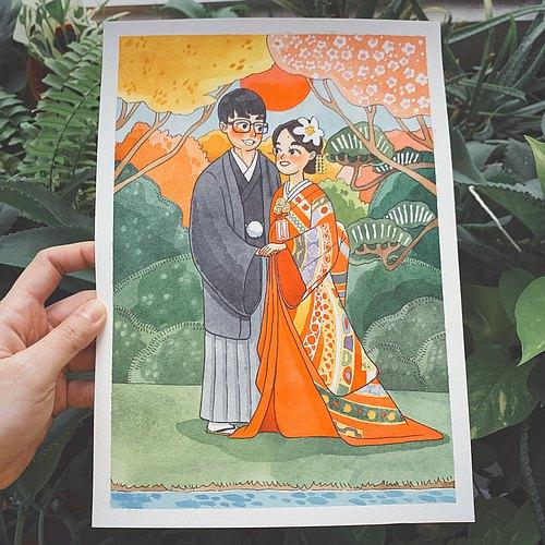 订制专属你的可爱人物插画|肖像|情侣画像|生日礼物|结婚送礼|画作
