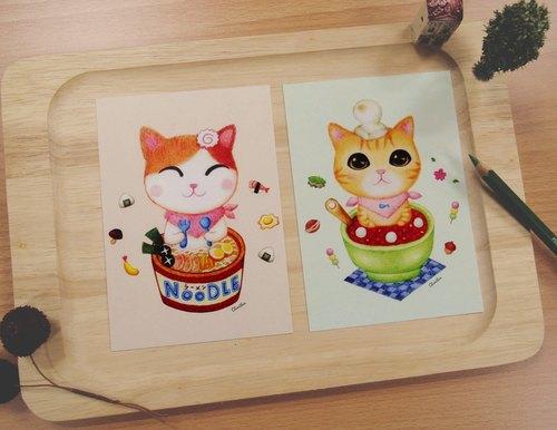 手绘猫咪明信片