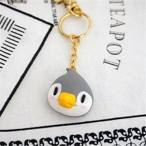 国王企鹅 钥匙圈 动物饰品 软陶 纯手工