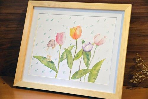 手绘水彩-花精灵之雨
