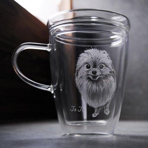 300cc【博美犬寵物雕刻】(寫實版) Pomeranian Cup 耐熱雙層杯(含杯蓋) 玻璃馬克杯客製化 肖像