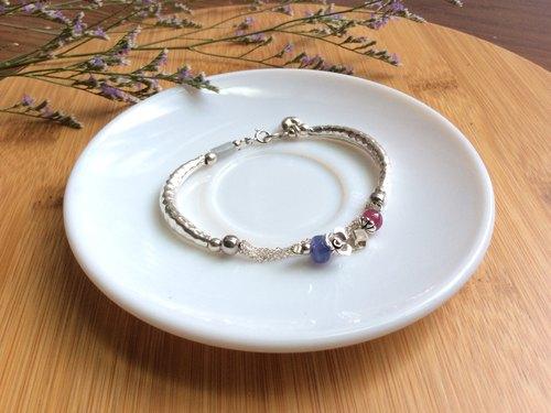 Ops Ruby Tanznite Jade silver bracelet -紅寶石/丹泉石/玉/純銀/銀管/手鍊
