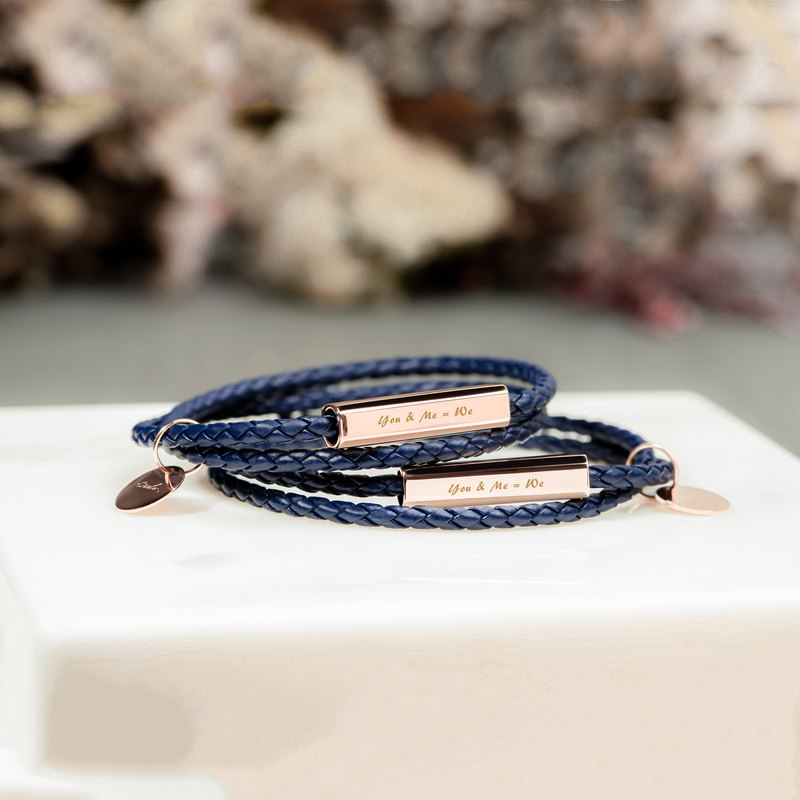 Crudo Leather - Ricordi Leather Wrap Bracelet - Palace Blue (Personalised)