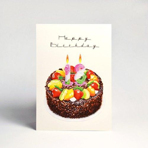卡片明信片|黑森林生日蛋糕(自选2张数字蜡烛贴纸)
