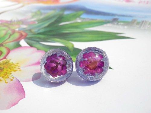 Anny's workshop手作押花飾品,紫色麥桿菊耳環 ( 耳針式 )