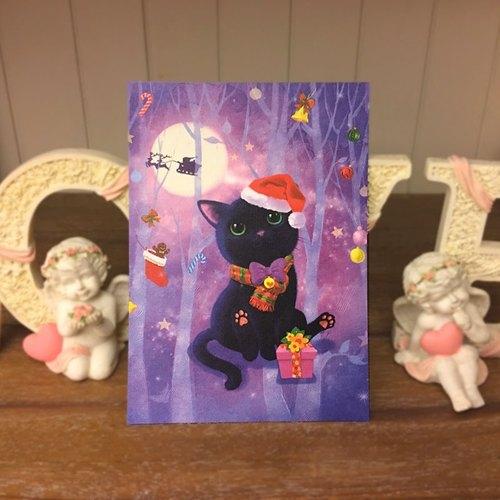 圣诞礼物可爱猫咪疗愈系圣诞黑猫插画明信片