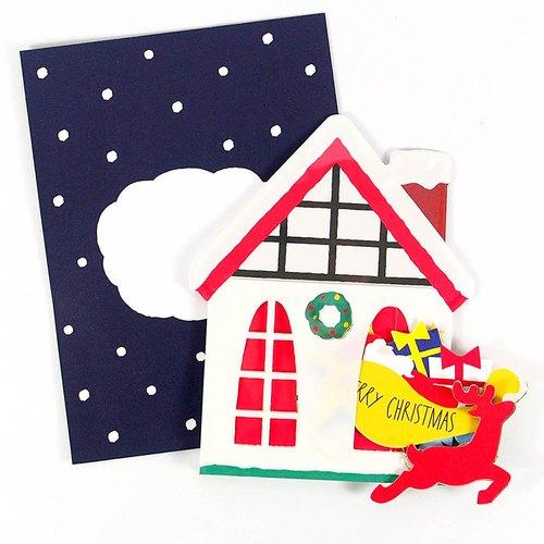 从房子里跑出圣诞老人跟麋鹿 耶诞卡片【hallmark-卡片 圣诞节系列】
