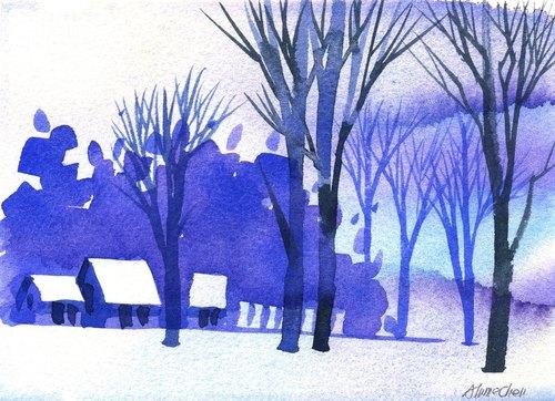 「疗愈系树林系列b-3」水彩手绘限量版明信片/圣诞卡
