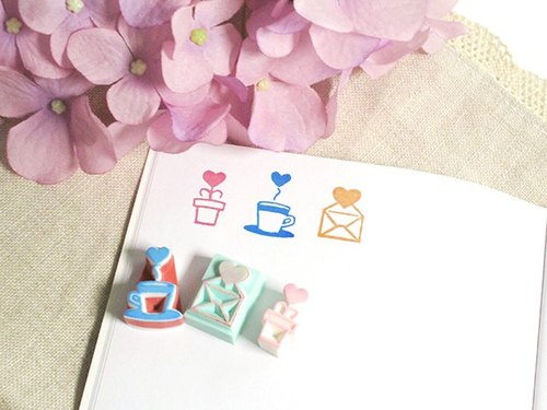 apu手工橡皮章 迷你爱心小元素印章 3枚组 手帐印章