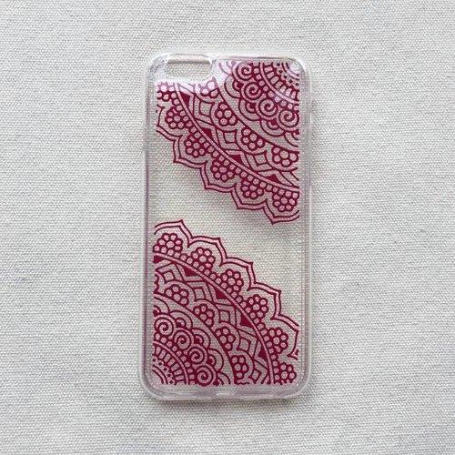 手绘透明手机壳 手机套 玫红 iphone 7 6s samsung galaxy sony lg