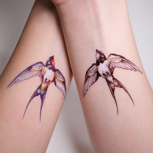 手绘 纹身 刺青 燕子 小鸟 自由 动物|lazy duo ( 2