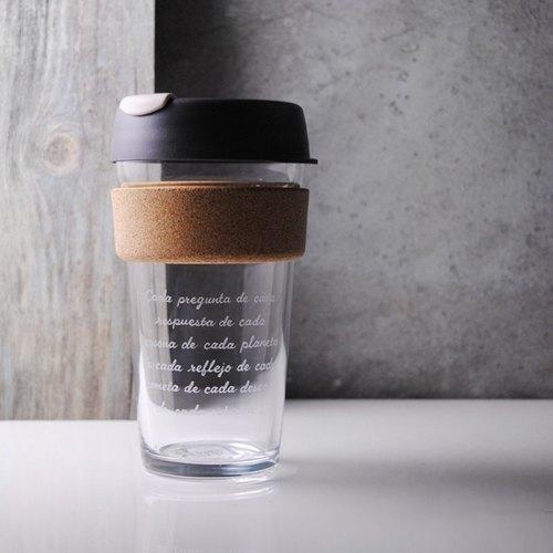 450cc【環保隨行杯KEEPCUP】(軟木環)澳洲正品 KeepCup 玻璃雕刻咖啡隨行杯 16oz咖啡杯 客製化