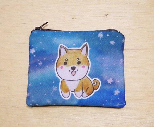 手绘渲染水彩风格图案 黄色柴犬 钥匙包 零钱包 卡片包