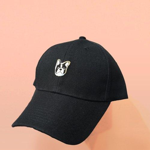 法斗 斗牛犬 黑色鸭舌帽