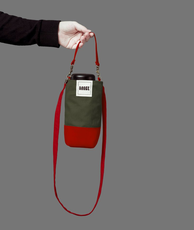 Christmas limited universal environmentally friendly beverage bag detachable long strap with oblique shoulder carrying army green + red
