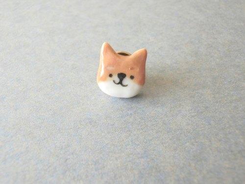 石下/ 动物系列 浅啡色 柴犬 秋田犬 小狗 手绘陶瓷扣