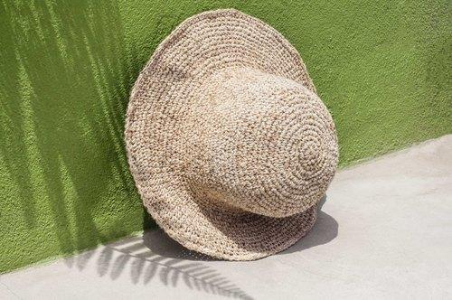 手工编织帽 渔夫帽 遮阳帽 草帽 手工编织棉麻帽 钩织棉麻帽-原色