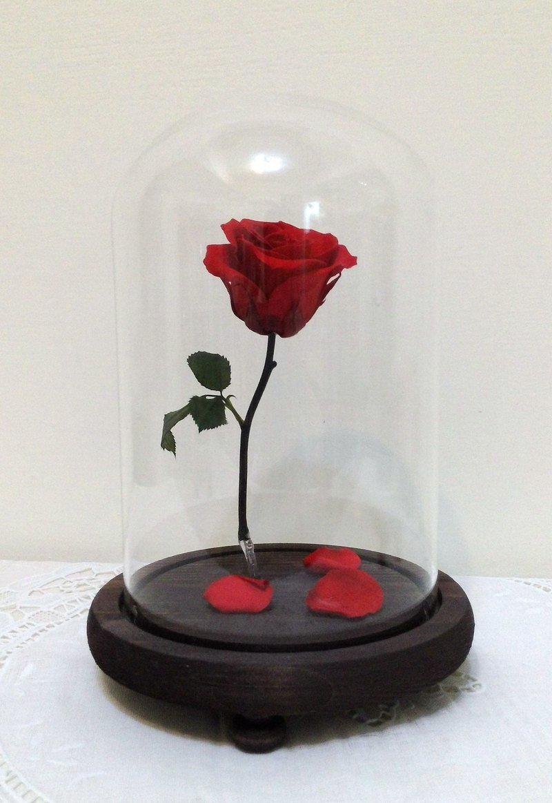L Magic Floating Rose With Light Glass Cover Flower