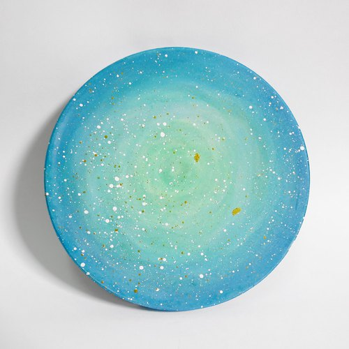 星空手绘杯垫 / 绿色星球
