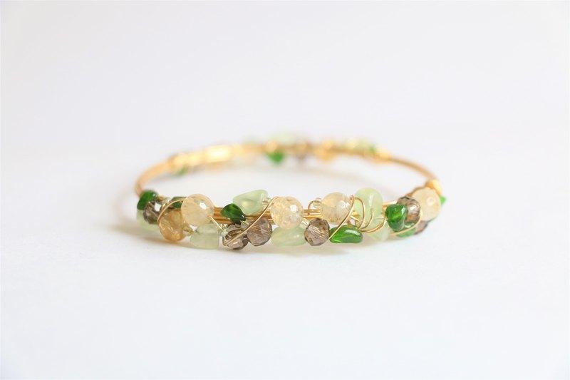 透辉石黄水晶金属线手环手镯 天然石手工铜线绕线手镯