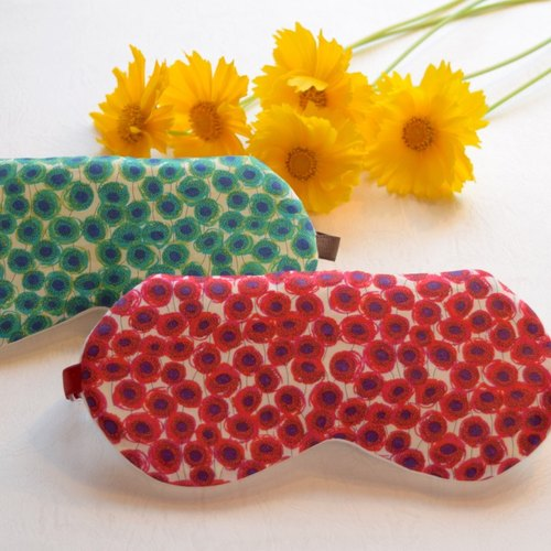 (LIBERTY) Ianthe Sunbeam eye mask green/red