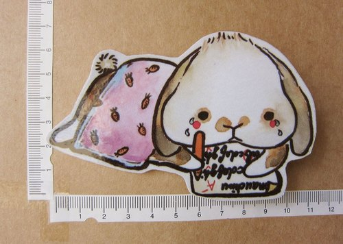手繪插畫風格 完全防水貼紙 完美主義的垂耳兔