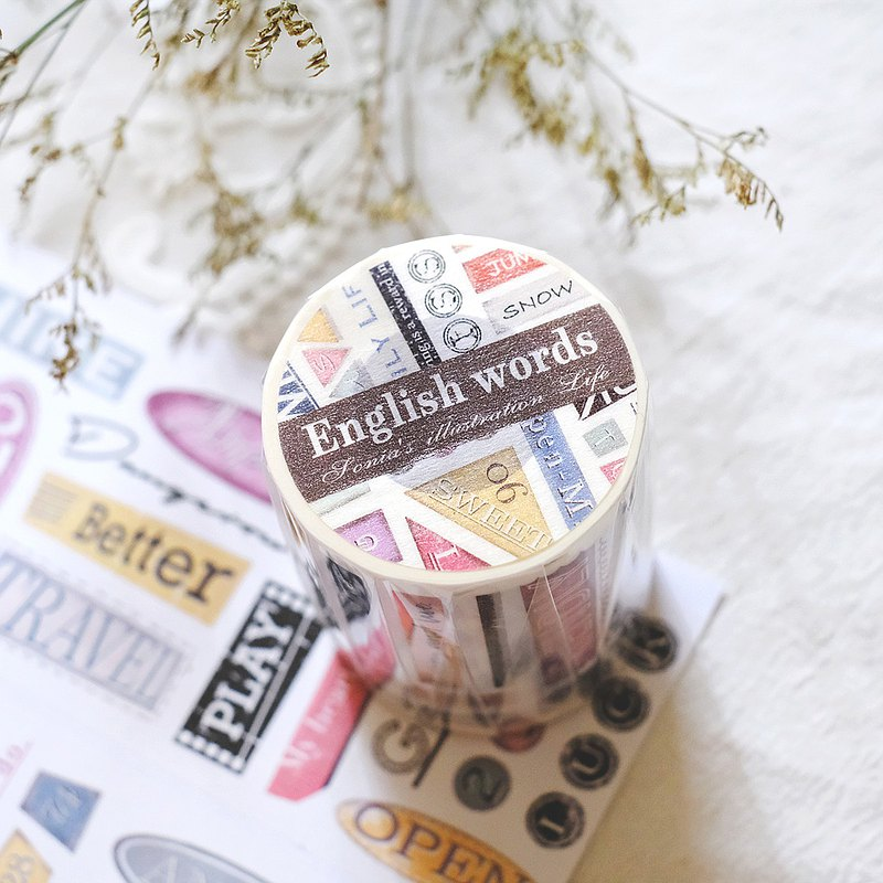 English words paper tape (with release paper) 6CM
