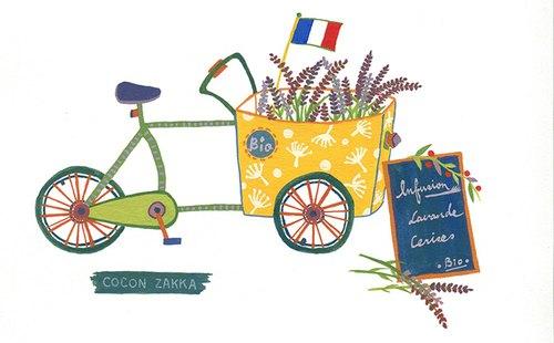 法国薰衣草单车 (手绘插画含a4画框)