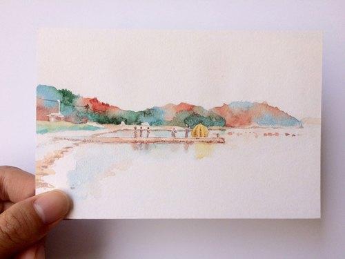 濑户内海-黄南瓜 风景速写水彩明信片