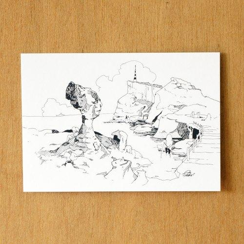 【一色】系列手绘风景明信片『台湾 野柳女王头』