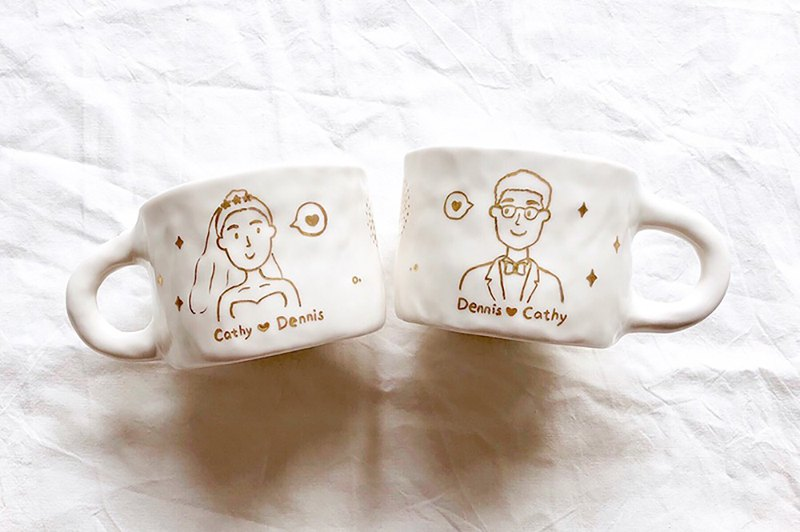 Gift custom drawing gold hand-painted couple portrait hand pinched ceramic cup wedding anniversary gift