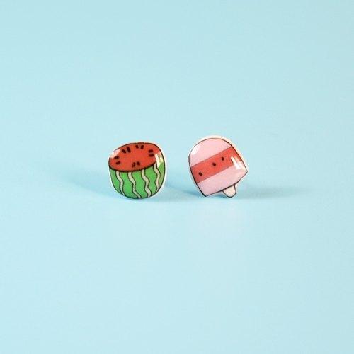 西瓜与雪糕 夏日清凉手绘耳钉 纯银耳针耳堵 可改吸铁石耳夹款 趣味