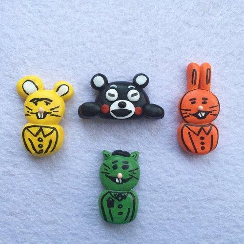 可爱熊老鼠兔子动物超轻粘土纸黏土陶土胸针别针饰品