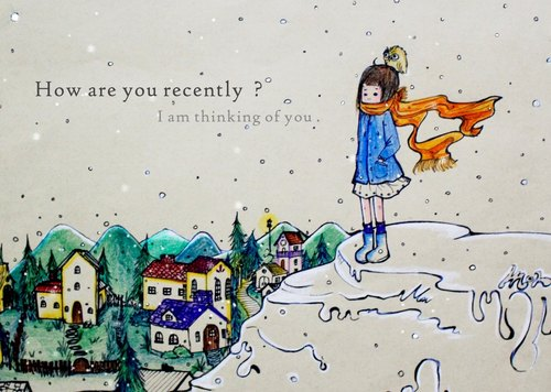 【冬天的来临 】手绘插画明信片 axmon