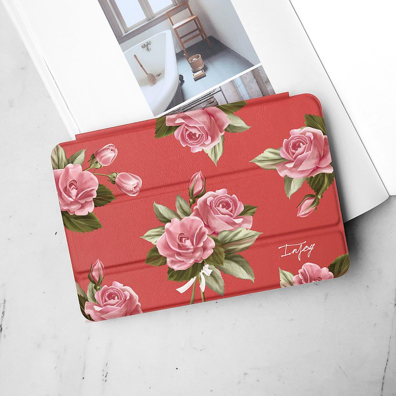 Pink Rose ipad case for iPad mini1,2,3,4,5, / Air1,2,3 / Pro10.5/12.9 / 10.2
