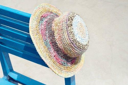 手捻棉麻编织帽/编织帽/渔夫帽/钩针遮阳帽/草帽
