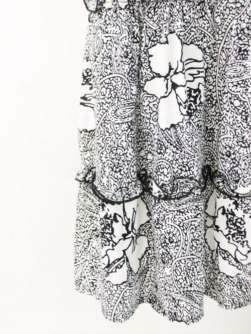 复古扶桑花图腾欧洲白色古著长裙 european vintage