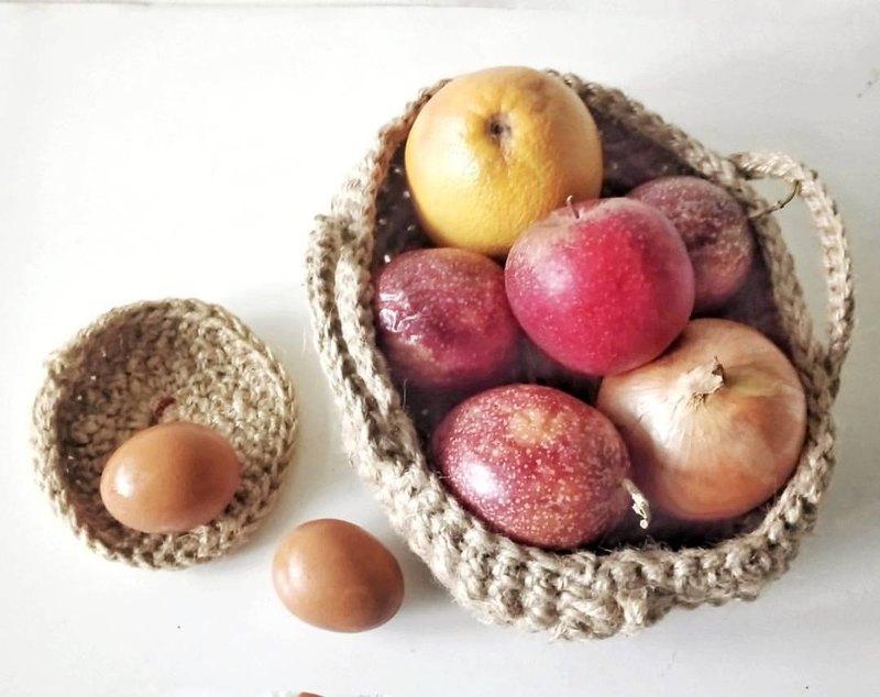 手工麻绳钩织软器皿--水果篮