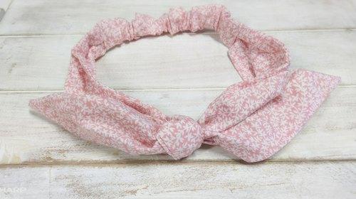 可爱粉红小碎花蝴蝶结发带