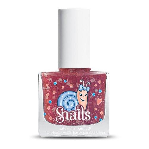 / snails希臘神話 兒童水性無毒指甲油 /【小春花新色上市】Candy Cane 拐杖糖(紅色系繽紛大亮片)
