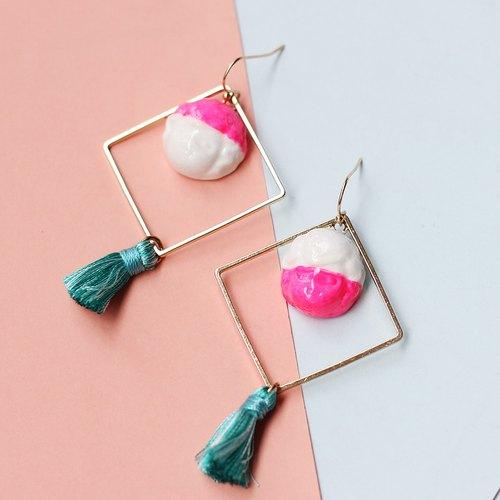 【库特菲斯】耳环石塑粘土手工制作原创设计搞怪超可爱小流苏