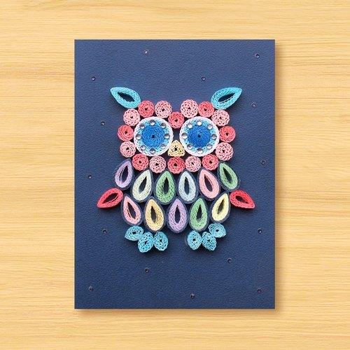 手工卷纸卡片:可爱猫头鹰 c(生日卡,万用卡,感谢卡)