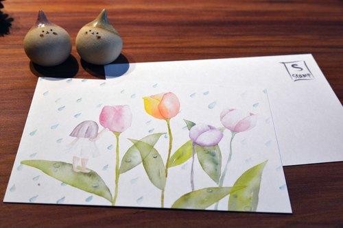 手绘水彩明信片-花精灵之雨