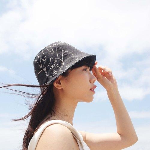 双面帽子 _ 手绘线条猫咪 - 浏海树bangstree | pinkoi