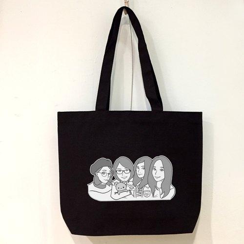 定制化黑白漫画人物风格 实用又值得纪念的肩背帆布袋 独一无二的礼物