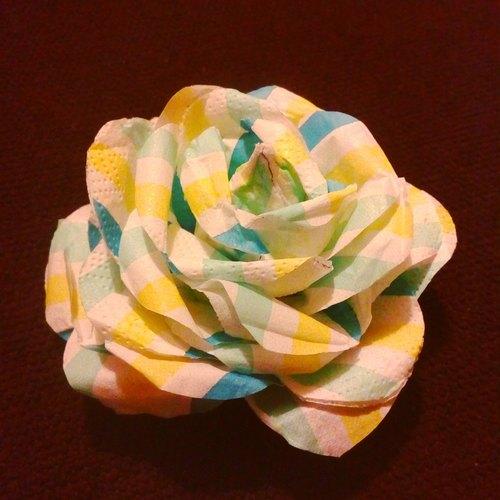 古典格纹印花餐巾纸手作玫瑰花(一般尺寸)