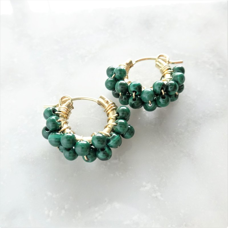 14kgf*Malachite wrapped pierced earring / earring