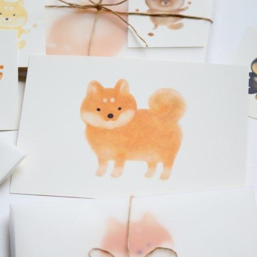 四喜柴丸系列明信片之 帅帅站赤丸 世界上可爱的狗狗有很多 但是柴犬
