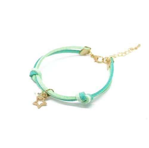 小星星 圣诞节限定 手工制作 手环 淡金色系列-薄荷绿